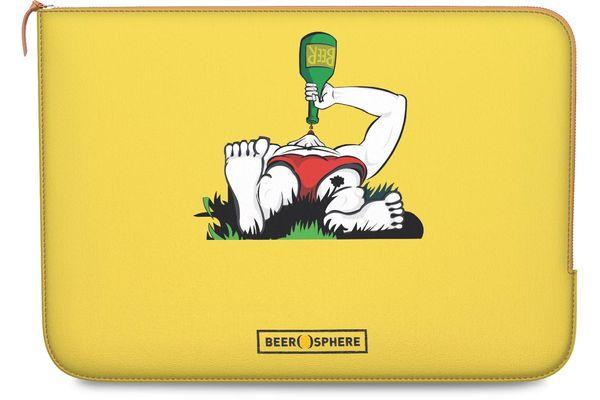 "Beer Garden Real Leather Zippered Sleeve For MacBook 12"""