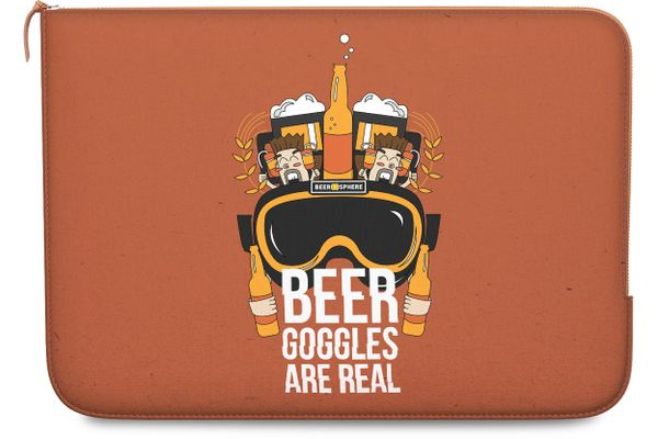 Beer Goggles Real Real Leather Zippered Sleeve For MacBook Pro 15""
