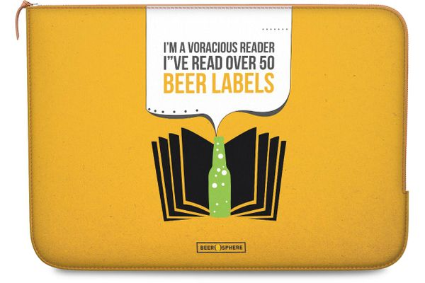 """Beer Labels Real Leather Zippered Sleeve For MacBook Pro 15"""""""