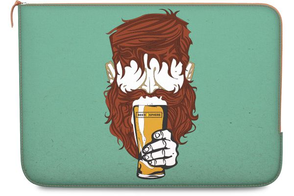 """Beer Sphere Beard Real Leather Zippered Sleeve For MacBook Pro 15"""""""