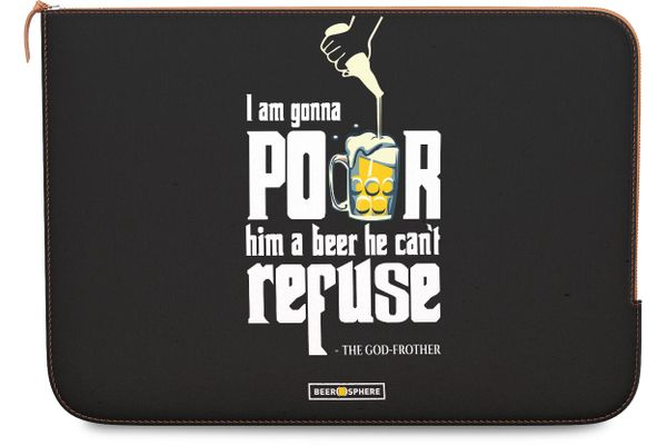 """Cant Refuse Beer Real Leather Zippered Sleeve For MacBook Air 11"""""""
