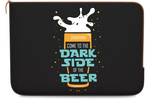 """Dark Beer Rules Real Leather Zippered Sleeve For MacBook 12"""""""