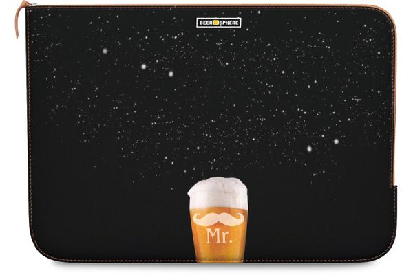"""Mr. Beer Galaxy Real Leather Zippered Sleeve For MacBook 12"""""""