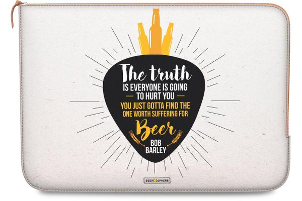 Truth Is Beer Real Leather Zippered Sleeve For MacBook Pro 13""