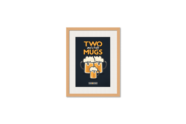 Beer 2.5 Mugs Framed Wall Art With Border Pine
