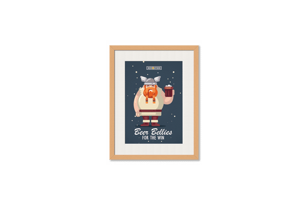 Beer Bellies FTW Framed Wall Art With Border Pine