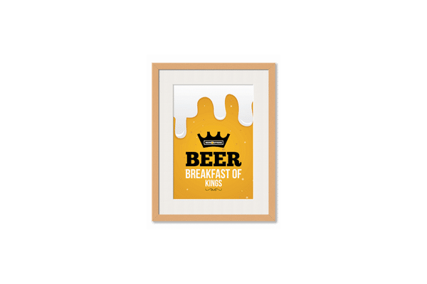 Beer BoK Framed Wall Art With Border Pine