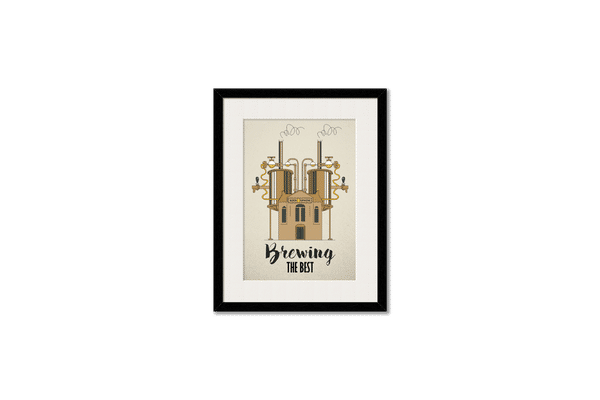 Beer Brewing The Best Framed Wall Art With Border Black