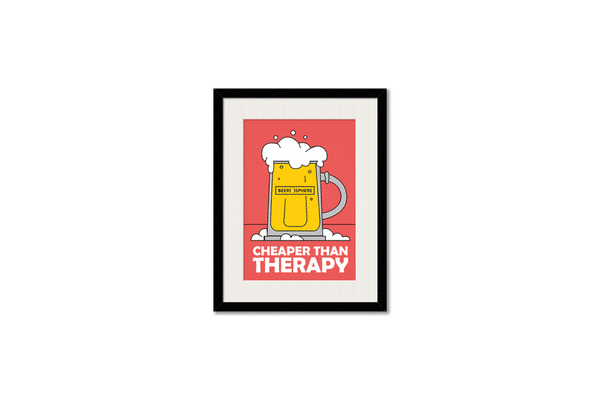 Beer Cheap Therapy Framed Wall Art With Border Black