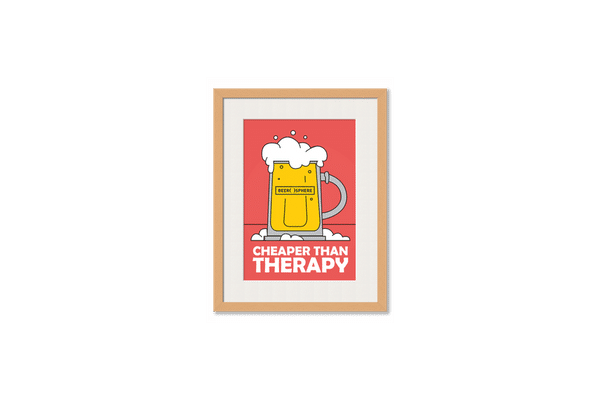 Beer Cheap Therapy Framed Wall Art With Border Pine
