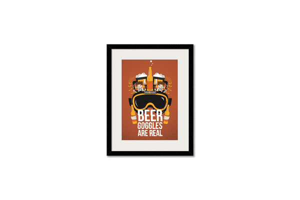 Beer Goggles Real Framed Wall Art With Border Black