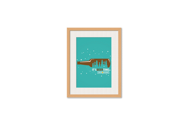 Beer OClock Framed Wall Art With Border Pine