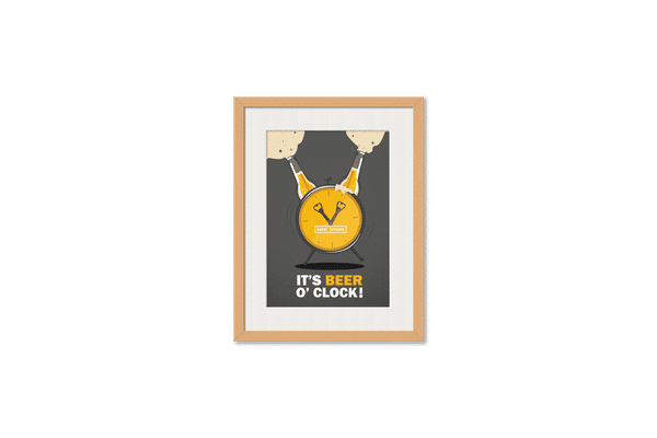 Beer OClock Froth Framed Wall Art With Border Pine