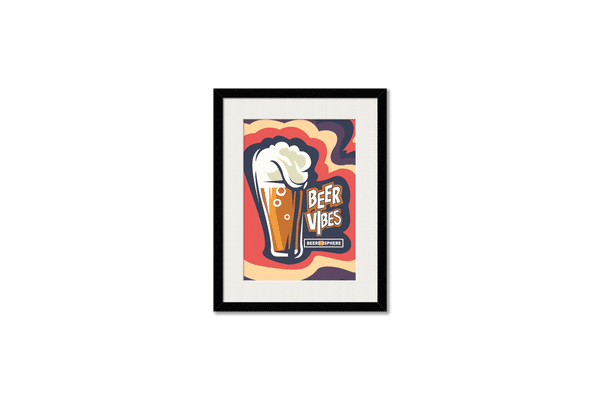 Dizzy Beer Vibes Framed Wall Art With Border Black