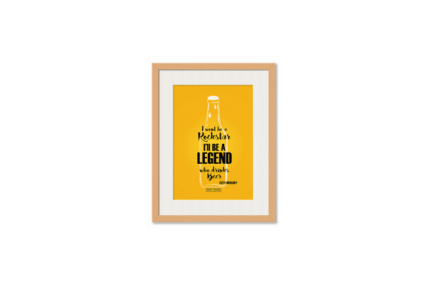 Legends of Beer Framed Wall Art With Border Pine