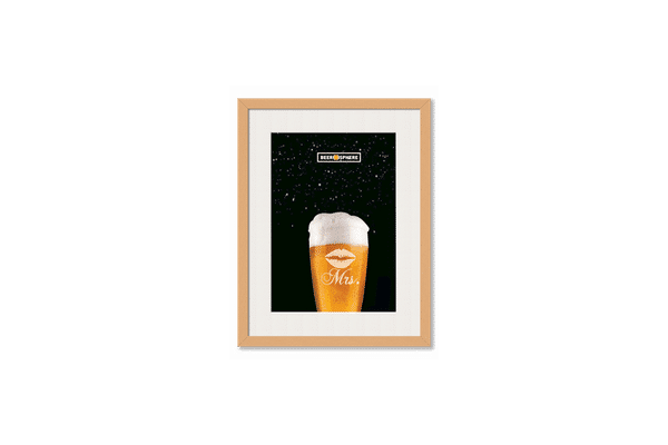 Mrs. Beer Galaxy Framed Wall Art With Border Pine