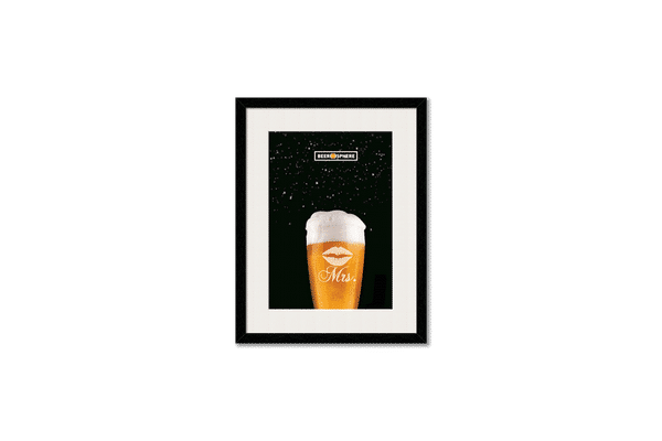 Mrs. Beer Galaxy Framed Wall Art With Border White