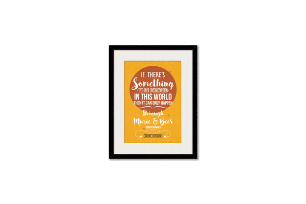 Music & Beer Framed Wall Art With Border Black