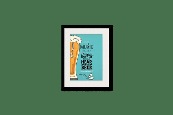 No Beer No Hear Framed Wall Art With Border Black