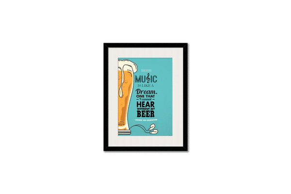 No Beer No Hear Framed Wall Art With Border White
