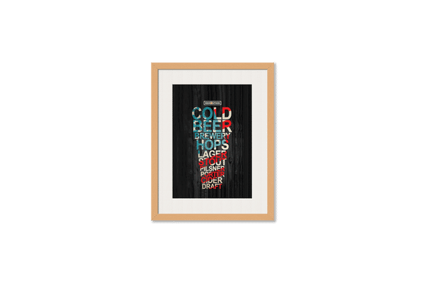 Red White & Beer Framed Wall Art With Border Pine
