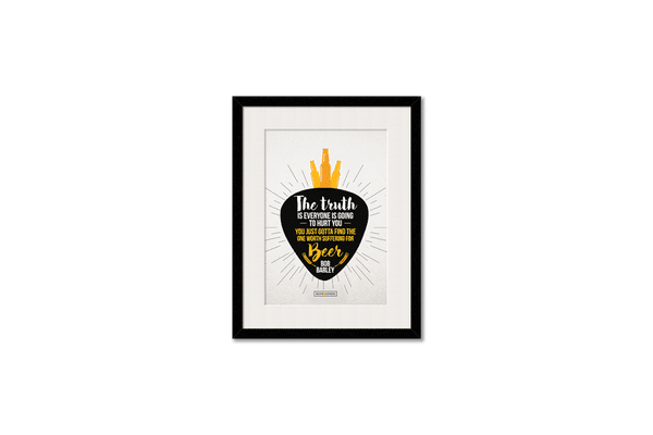 Truth Is Beer Framed Wall Art With Border White