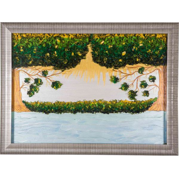 Glorious Nature - Hand painted art combined with crafty wooden chips - Size 29.5(H) Inch * 39.6(W) Inch