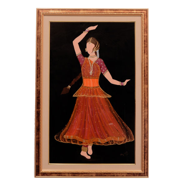 Classic Kathak Rhythm - Orange; Hand painted art - Size 31 (H) x 20 (W) Inch