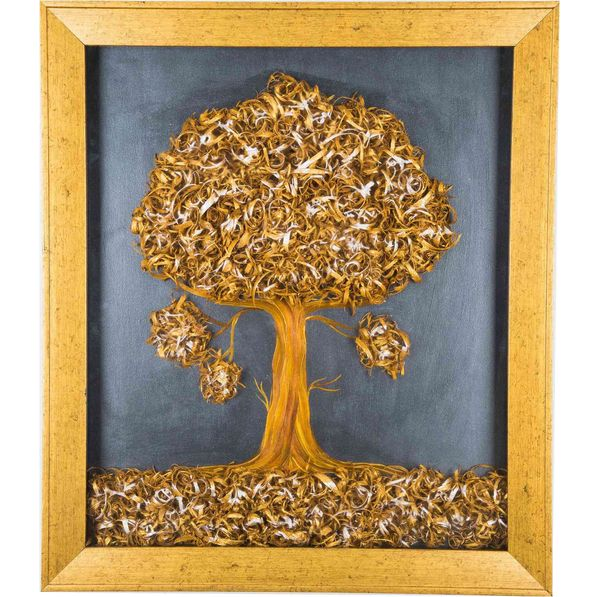 Tiny Tree - Gold - Hand painted art combined with crafty wooden chips - Size 23.6(H) Inch * 20.5(W) Inch