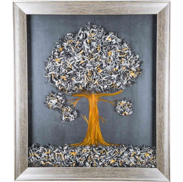 Tiny Tree - Silver - Hand painted art combined with crafty wooden chips - Size 23.6(H) Inch * 20.5(W) Inch