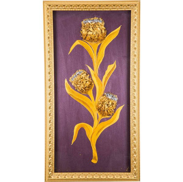 Cute Tulip - Gold - Hand painted art combined with crafty wooden chips - Size 25.2(H) Inch * 13.5(W) Inch