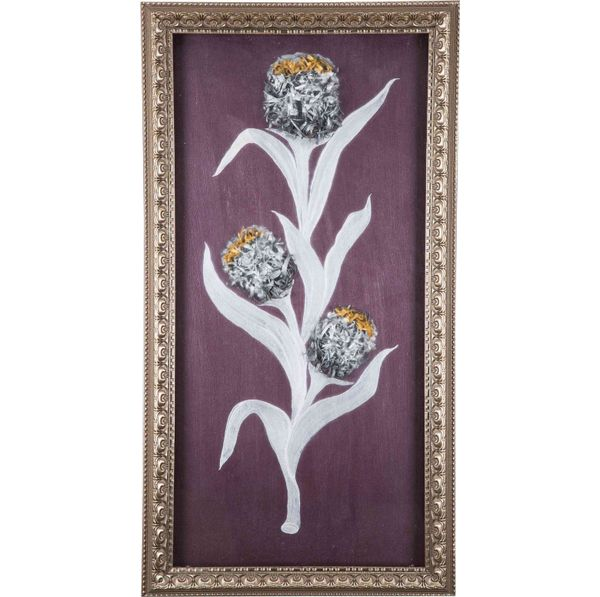 Cute Tulip - Silver - Hand painted art combined with crafty wooden chips - Size 25.2(H) Inch * 13.5(W) Inch