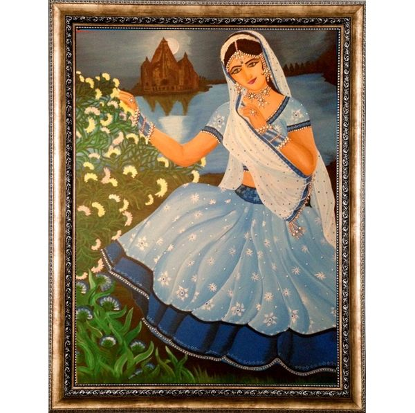 Beautiful Woman with Nature - Hand painted art combined with crafty jewellery - Size 41.5(H) Inch * 32(W) Inch