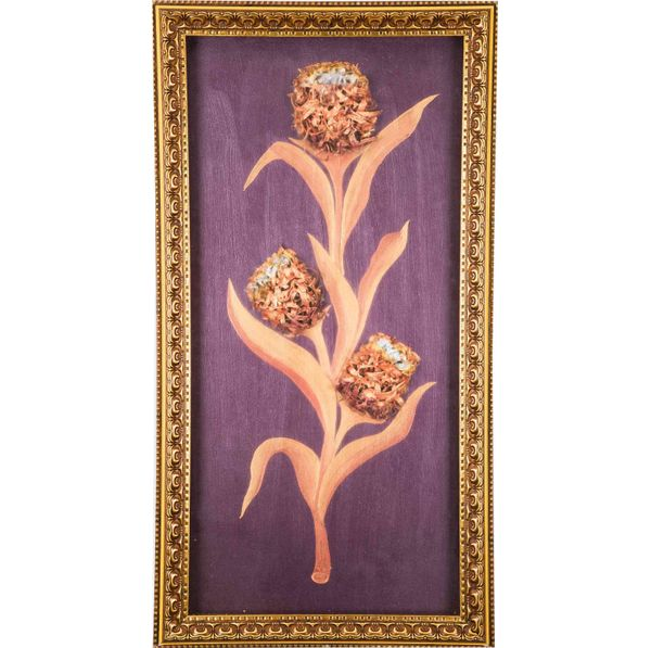 Cute Tulip - Copper - Hand painted art combined with crafty wooden chips - Size 25.2(H) Inch * 13.5(W) Inch
