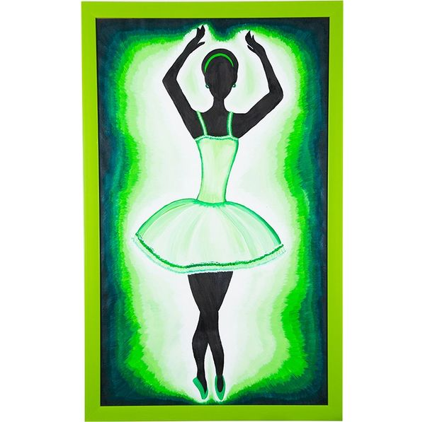Western move rhythmically - Green color; Hand painted art - Size 29.2(H) Inch * 18.2(W) Inch