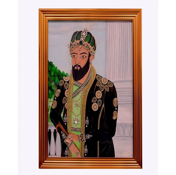Shahjahan - Hand painted art  combined with jewellery art -  Size 45(H) Inch * 36(W) Inch