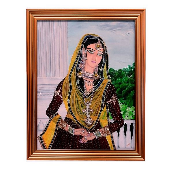 Mumtaz - Hand painted art  combined with jewellery art -  Size 45(H) Inch * 36(W) Inch