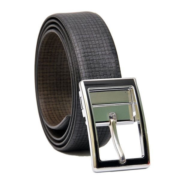 CHECKERED BLUE-BROWN REVERSIBLE LEATHER BELT