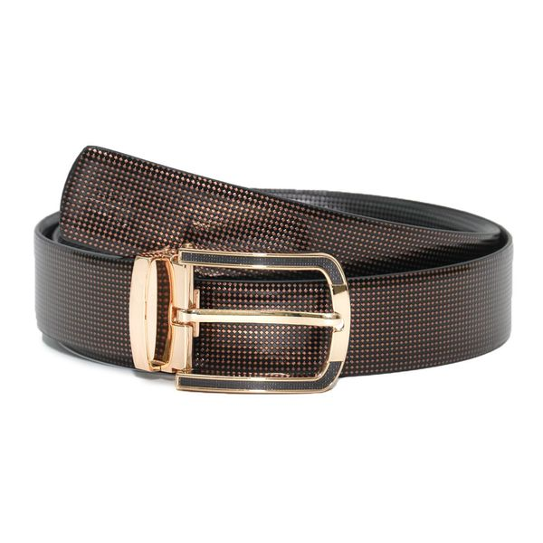 METALLIC PRINT LEATHER BELT WITH DRESSY GOLDEN BUCKLE
