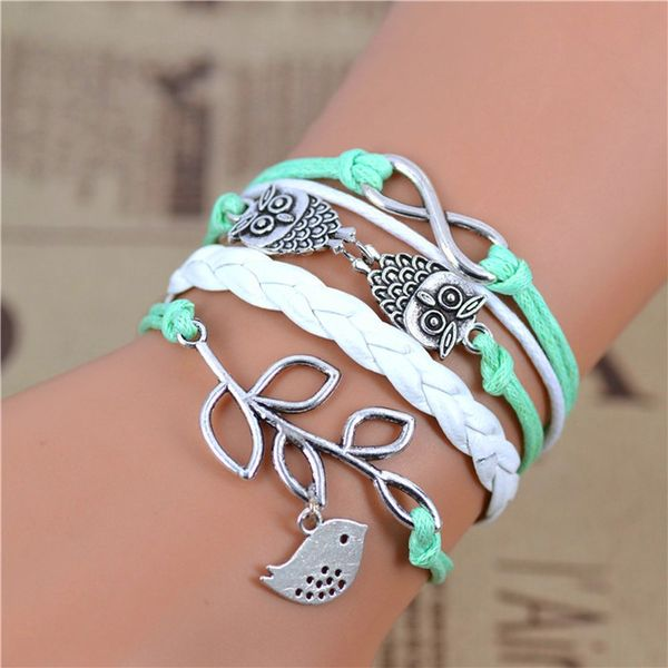 WOMEN'S GENUINE LEATHER BRACELET WITH CHARMS~ AQUA GREEN