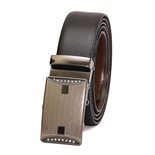 BUSINESS REVERSIBLE LEATHER BELT WITH STUDDED AUTO LOCK BUCKLE