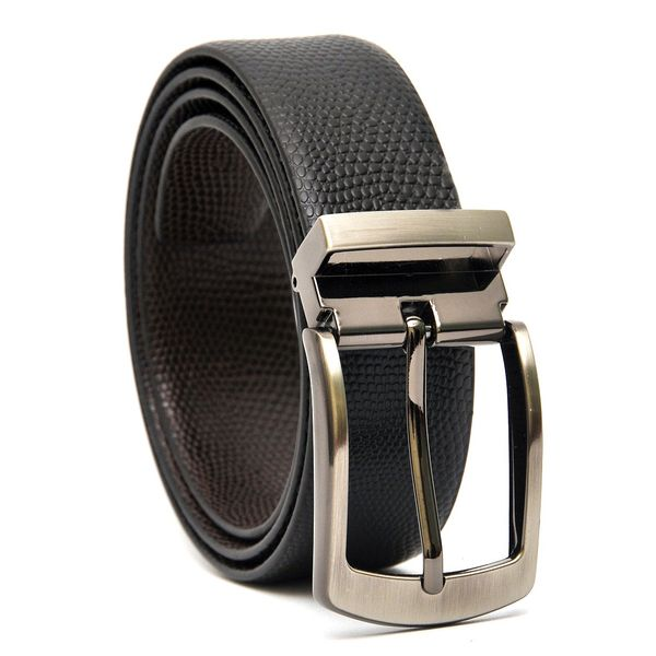 LIZARD EMBOSSED REVERSIBLE LEATHER BELT WITH TURN BUCKLE