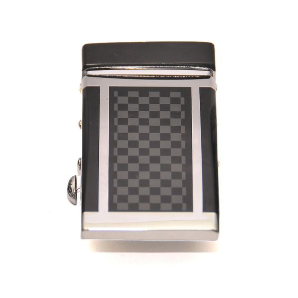 CHROME TONE AUTO LOCK BELT BUCKLE IN CHECKERED PATTERN