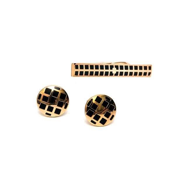 GOLD TONE BLACK INLAY CUFFLINKS AND TIE PIN SET