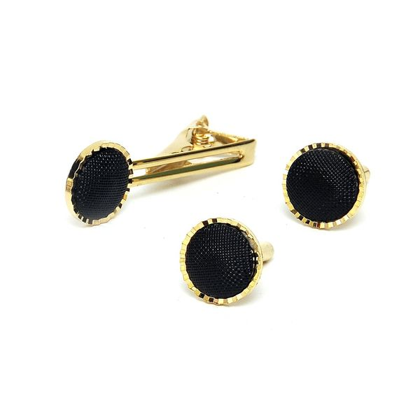 GOLD TONE BLACK MESH CUFFLINKS AND TIE PIN SET