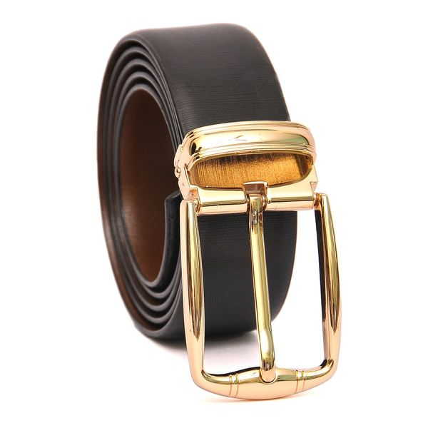 HIDEMARK REVERSIBLE LEATHER BELT WITH GOLD TONE FRAME BUCKLE