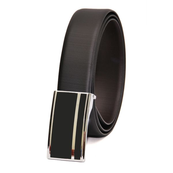 EXECUTIVE LEATHER BELT WITH BOX FRAME BUCKLE