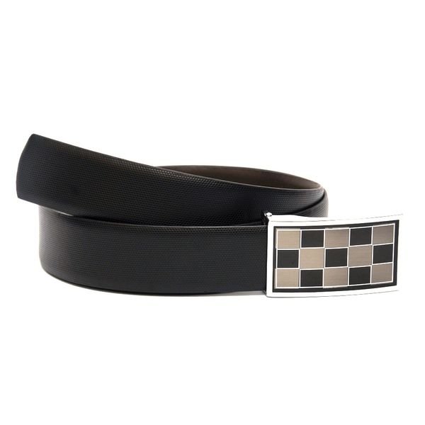 EXECUTIVE MENS LEATHER BELT WITH BOX FRAME BUCKLE