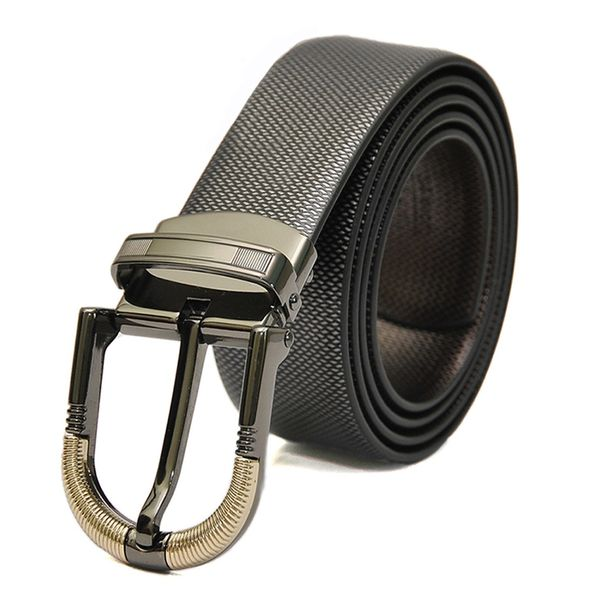 REVERSIBLE LEATHER BELT WITH DRESSY GREY