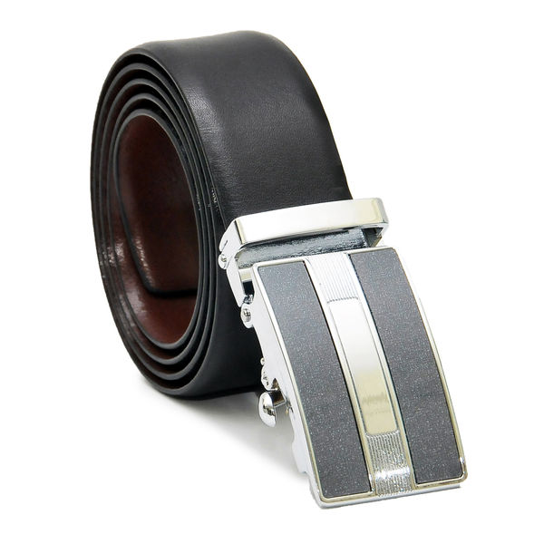 EXCLUSIVE REVERSIBLE LEATHER BELT WITH AUTO LOCK BUCKLE